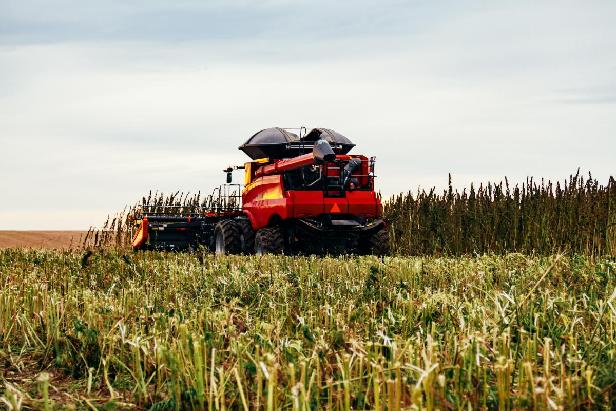 An image of a tractor cutting down stalks on a farm is shown.