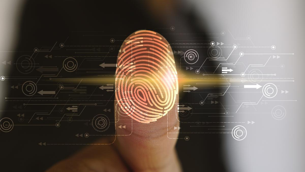 A thumbprint is being scanned by fingerprint scanning technology.