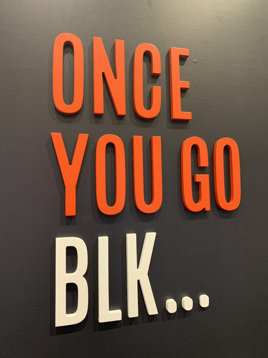 BLK MKT, an adult-recreational cannabis brand launched in Dec. 2019 by LP GTEC Holdings used the slogan at Vancouver's Lift & Co. trade show in Jan. 2020. (Source: Leafly; Photo: Lift & Co.)