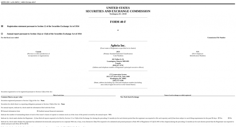 Aphria Submits Documentation To The Sec To List On The New York
