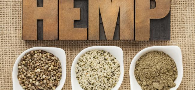 "An image of the word ""hemp"" and three containers of hemp seed is shown."