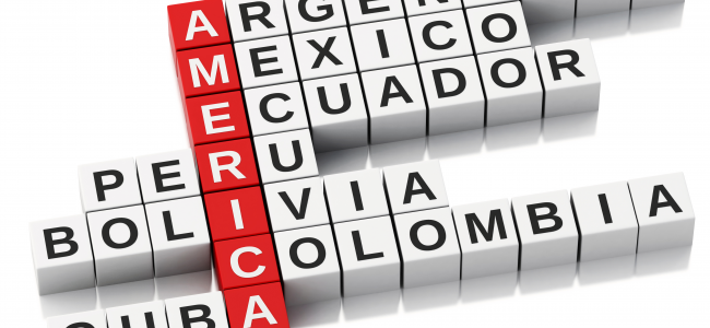 An image of red letter tiles displaying the word America is shown. Stemming from each letter tile are the Latin American countries Argentina, Mexico, Ecuador, Peru, Bolivia, Colombia, and Cuba.