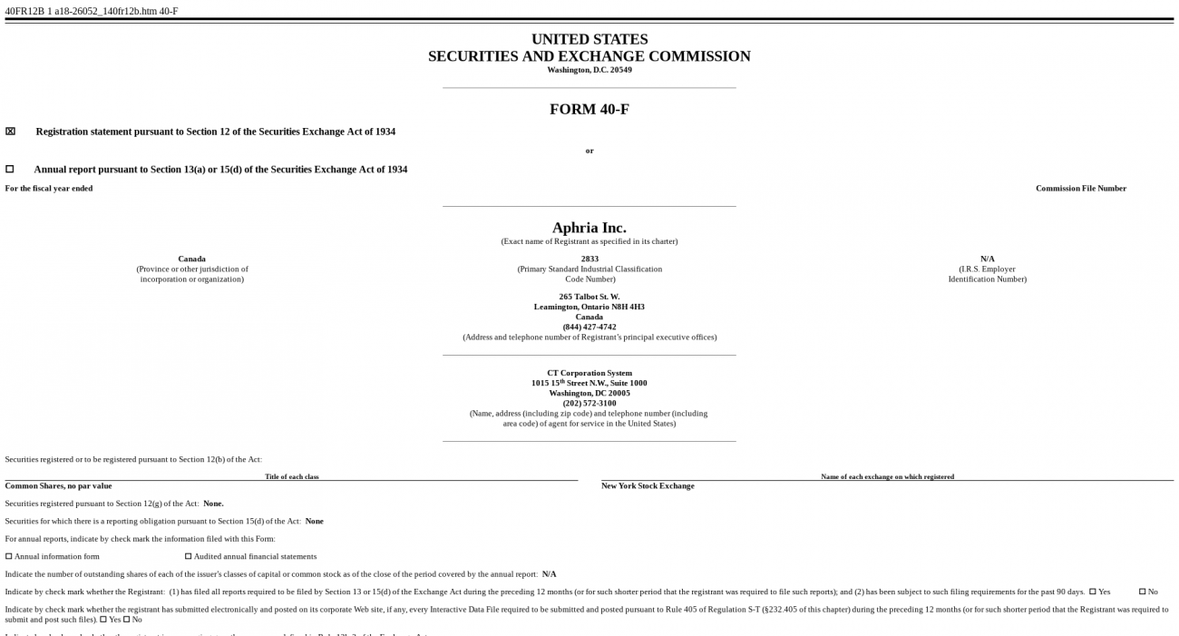 Aphria submits documentation to the SEC to list on the New
